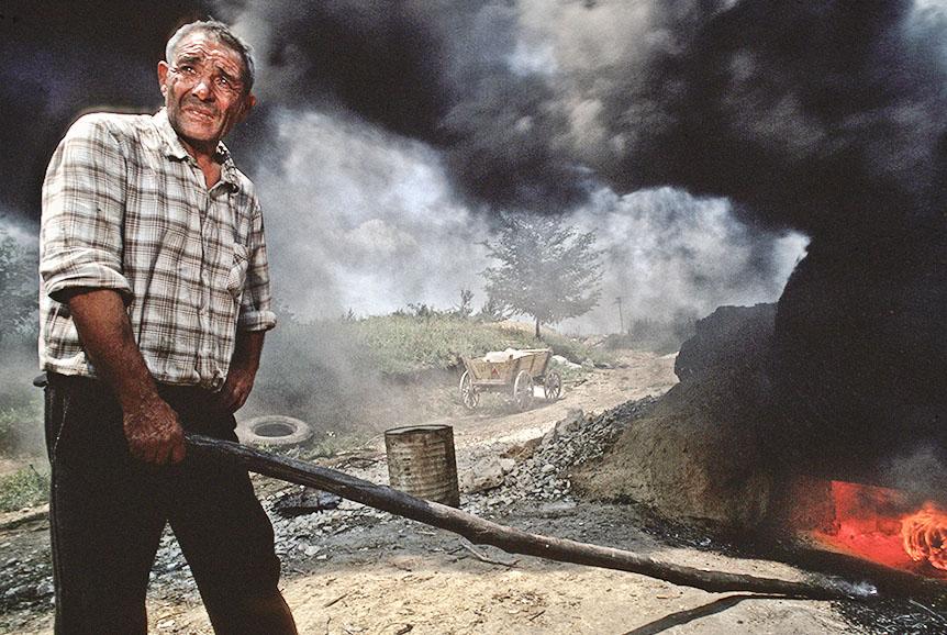 Kohlearbeiter in Bulgarien, 1990