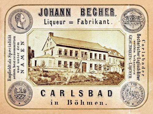 """Die erste Fabrik stellte den heutigen Becherovka noch als """"Carlsbader Becherischer Englisch-Bitter"""" her."""