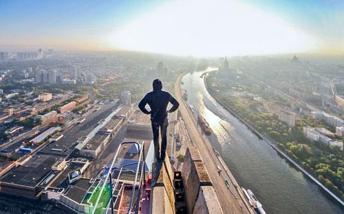 """Blick auf die Stadt vom Turm """"Evolution"""" in Moskau City"""