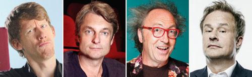 Christian Schulte-Loh, Alfred Dorfer, Urban Priol und Lars Reichow wollen das Publikum zum Lachen bringen.