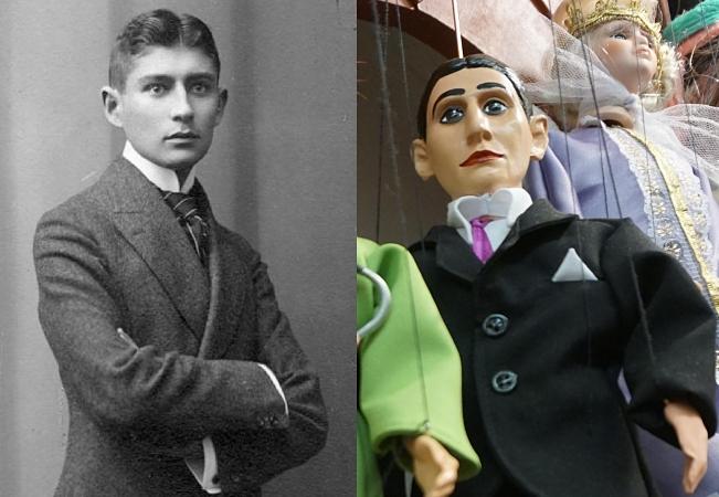 Franz Kafka im Jahr 1906 und als Marionette in der Prager Altstadt im Jahr 2017. Wahrscheinlich hätte weder der Schriftsteller noch sein Verleger Kurt Wolff daran Gefallen gefunden.