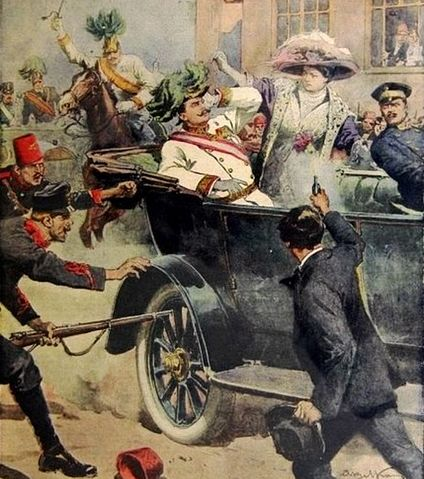 """Gavrilo Princip erschießt Erzherzog Franz Ferdinand und dessen Frau (nachempfundene Illustration von Achille Beltrame in der italienischen Zeitung """"La Domenica del Corriere"""" am 12. Juli 1914)."""