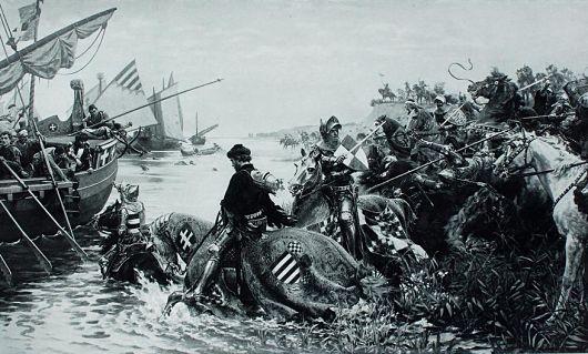Rettung des ungarischen Königs Sigismund in der Schlacht von Nikopolis durch den Burggrafen von Nürnberg (Gemälde von Hermann Knachfuß (1848-1915))