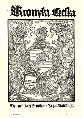 Titelblatt der Böhmischen Chronik des Václav Hájek von Libočan