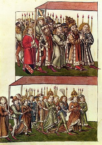 König Sigismund und Königin Barbara auf dem Zug ins Konstanzer Münster beim Konzil von Konstanz (aus: Chronik des Konzils von Konstanz, um 1440)
