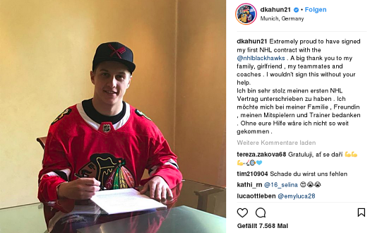 Kahun unterschreibt den Vertrag der Chicago Blackhaws © Dominik Kahun, Instagram
