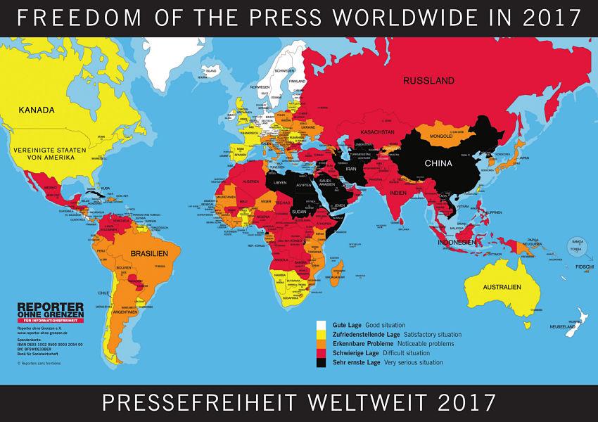 Weltkarte der Pressefreiheit 2017