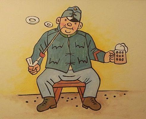 Der brave Soldat Schwejk in einer Prager Bierkneipe © jirka.h23, CC BY-SA 4.0