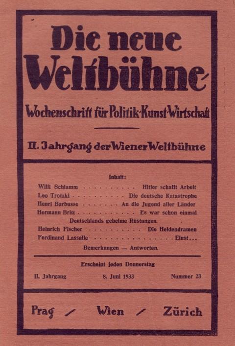 """""""Die Neue Weltbühne"""", 8. Juni 1933"""